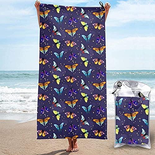 Toalla de Microfibra de Secado rápido, Folk Moths, Toallas de baño Ultra Suaves oscuras para Acampar, Nadar, Playa, baño, 31.5 'x63