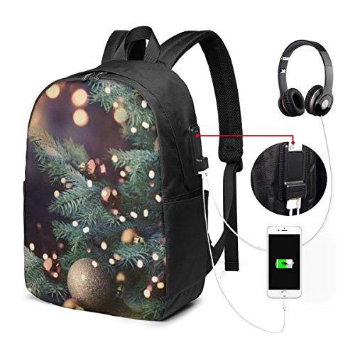 XCNGG Mochila para portátil, Mochila para Colegio Universitario de 17 Pulgadas con Puerto de Carga USB, Mochila Informal para Viajes (árbol de Navidad)