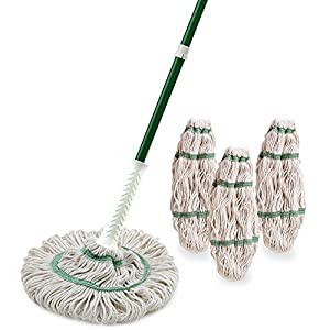 Libman Tornado Plus Refills Kit – Twist Hardwood, Vinyl, Tile, and More. Easy Wringing Technology, Super Absorbent Machine Washable. Mop and 3 Replacement Heads, Green White