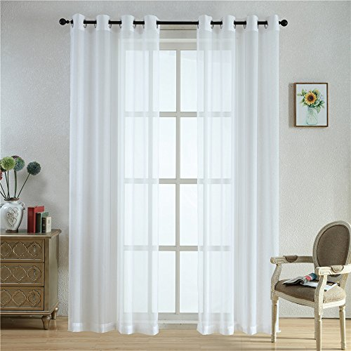 BEGOODTEX Sheer Curtain Transparent Voile Window Treatment Draperies Grommet Panel- 52Wx84L Inch- White- 2 Panels