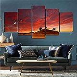 mmkow Juego de Pintura de 5 Piezas de Arte Enmarcado Earth Sunset Living Art Dormitorio decoración del hogar 50x100cm (Marco)