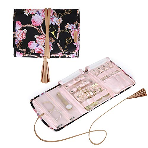 BAGSMART Travel Jewelry Organizer Case Foldable Floral Jewelry Roll with Tassel for JourneyRings Necklaces Earrings Bracelets