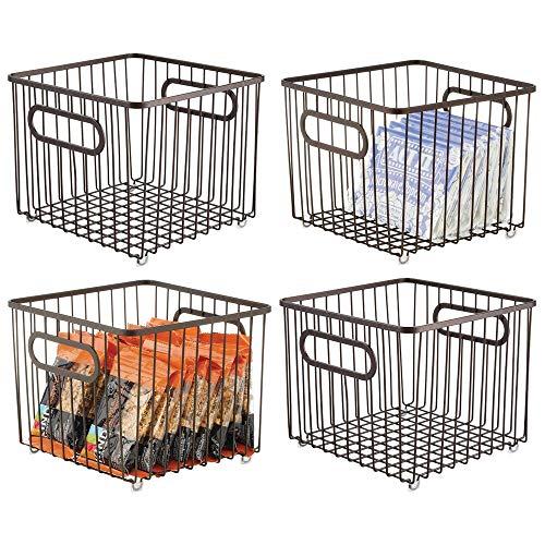 mDesign - Cesta organizadora de metal para almacenaje de alimentos, diseño de rejilla de alambre, para armarios, armarios, estantes, encimeras, capacidad para patatas, cebollas, frutas, 4 unidades, color bronce