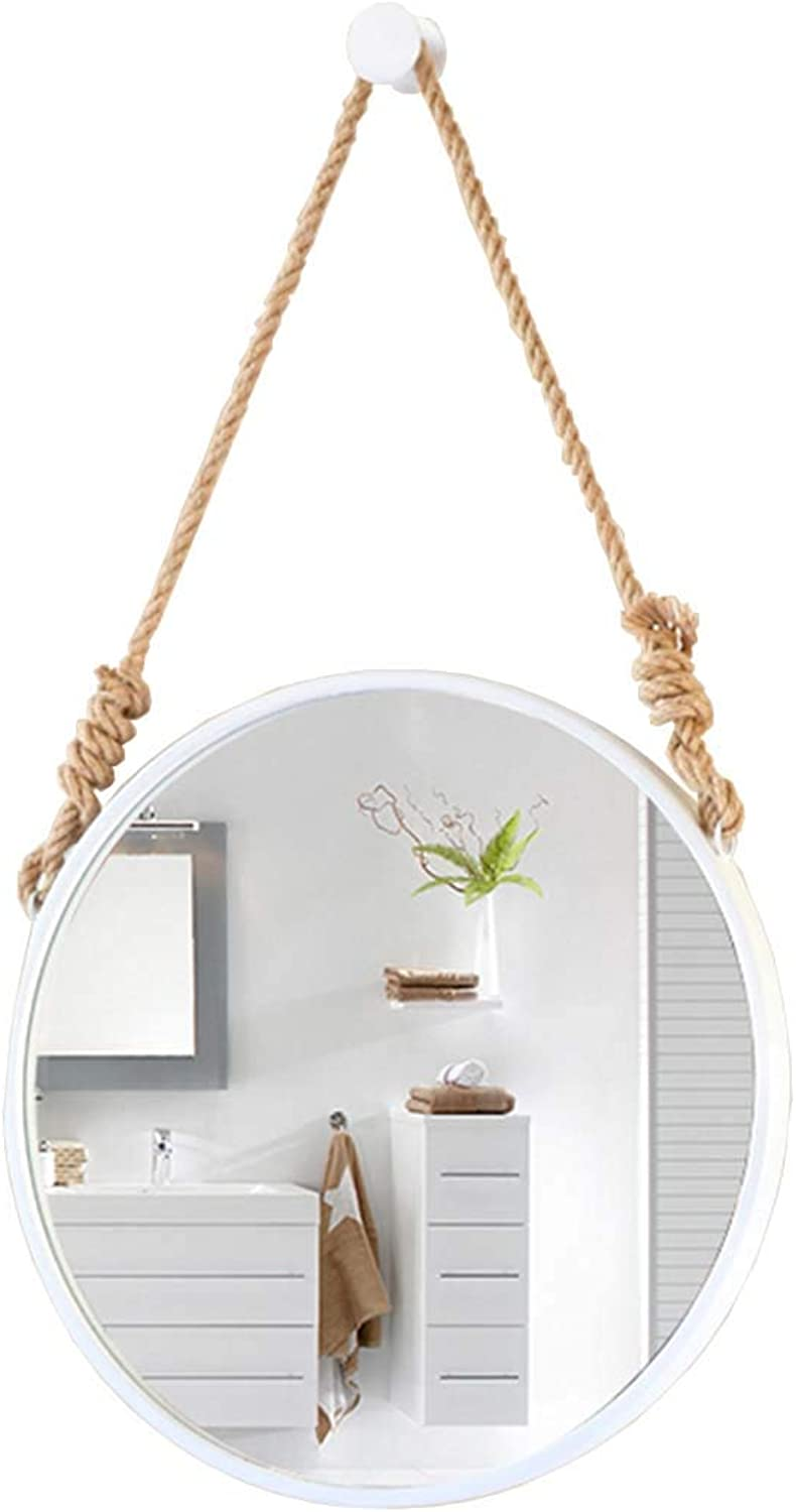 Wall Decorative Mirror - 16-28Inch Round Metal Frame Hanging Mirrors for Entryways Washrooms Living Rooms and More Modern Simple Art Wall Vanity Mirror(White)