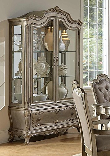 HEFX Furniture Farah China Cabinet in Rich Silver with Gold Underton Finish