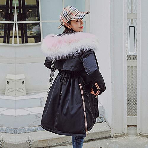EIJFKNC Daunenjacke Mäntel Winter Warm Solid Woman Parka mit großem Kragen, große Jacke, mittelgroße Winterjacke von Parker, Schwarz, XL