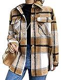 Tanming Womens Wool Blend Plaid Lapel Button Short Pocketed Shacket Shirts Coats(Khaki-S)