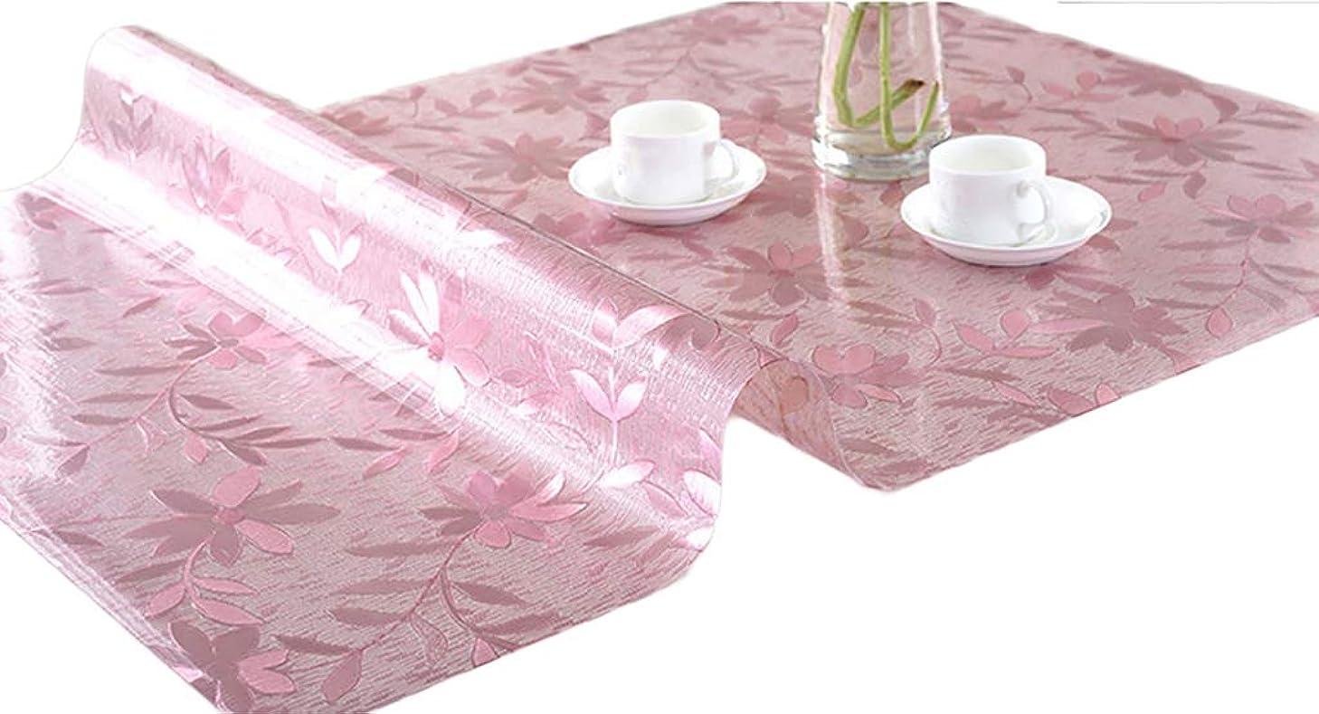 花悪質な誰の(ティーモイス)Timoise テーブルクロス PVC製 花柄 透明 テーブルマット 長方形 防水 撥水 耐久 汚れつきにくい デスクマット テーブルクロス コーヒーテーブル (ピンク, 80 * 150)