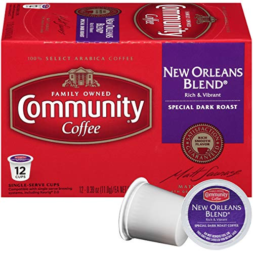 Community Coffee New Orleans Blend Dark Roast Single Serve, 12 Ct Box, Compatible with Keurig 2.0 K Cup Brewers, Full Body Bold Taste, 100% Arabica Coffee Beans