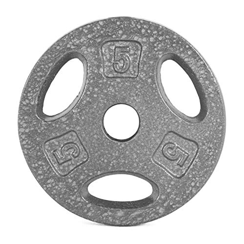 CAP Barbell Standard 1-Inch Grip Weight Plates, Single, Gray, 5 Pound