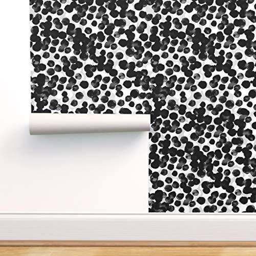 schwarz und weiß, Punkte, grau, neutral, Wasserfarben Spezialangefertigte Vorgekleisterte Tapete 61 cm x 100 cm von Spoonflower