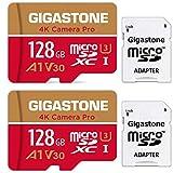 【5年保証 】Gigastone 128GB マイクロSDカード A1 V30 2pack 2個セット Ultra HD 4K ビデオ録画 高速4Kゲーム 動作確認済 100MB/s マイクロ SDXC UHS-I U3 C10 Class 10 micro sd カード SD 変換アダプタ付 Nintendo Switch