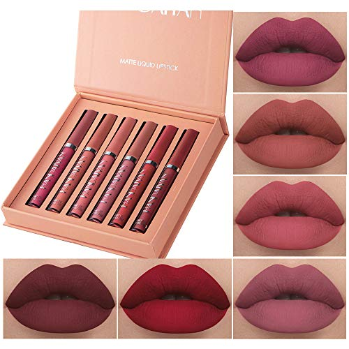 6Pcs Matte Liquid Lipstick Makeup Set, Matte liquid Long-Lasting Wear Non-Stick Cup Not Fade Waterproof Lip Gloss (Set A)