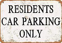居住者駐車場のみティンサイン壁鉄絵レトロプラークヴィンテージメタルシート装飾ポスターおかしいポスターぶら下げ工芸品バーガレージカフェホーム
