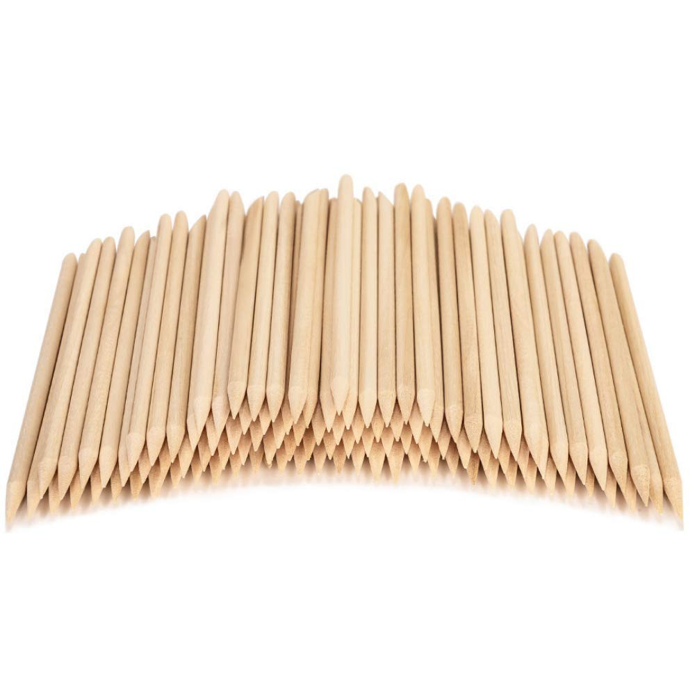 100PCS Orange Sticks for Nails 4.5 Inch - Wooden Cuticle Pusher & Remover Set - Non-Toxic, Skin-Safe - Wood Tools for Manicure & Pedicure - Disposable Set Useful for Home & Salon - Won't Break Easily : Beauty