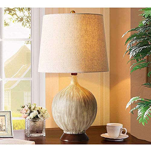 LFK Lámpara de mesa personalizada de concha de coco para dormitorio, lámpara de mesa creativa de cerámica, diseño de sala de estar, cálida, moderna, minimalista, 30,5 x 58 cm