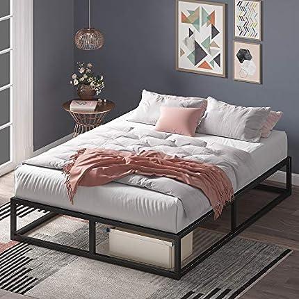 Estructura de cama metálica ZINUS Joseph 25 cm   Base para colchón   Somier de láminas de madera   Almacenamiento debajo de la cama   150 x 200 cm   Negro