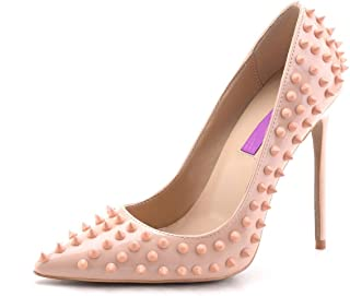 Women's High Heel for Wedding Party Pumps Fashion Rivet Studded Stiletto Pointed Toe Dress Shoes
