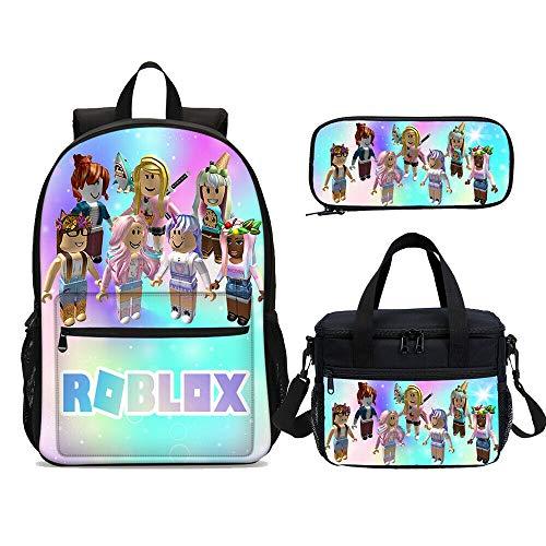 3 piezas Mochila para niña con bolsa de almuerzo, estuche para lápices, bolsas escolares para estudiantes, para adolescentes, regalos para fanáticos