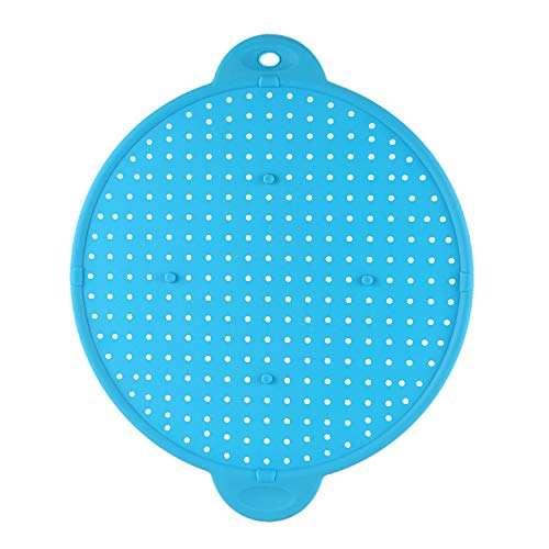 Naliovker 3 In 1 Kitchen Splatter Screen Silicone Oil Splatter Guard Guard Heat Insulation Cooling Mat For Frying Pan Screen Strainer Blue