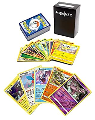100 Pokemon Cards with 5 Holo Rares Plus Poshinzo Card Box by Poshinzo