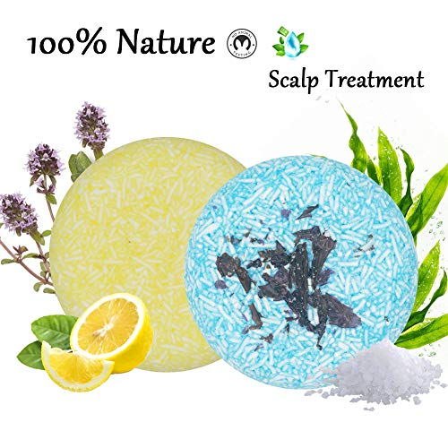 100% Natural Shampoo Bar for Hair 2 Pieces Solid Shampoo Soap for Treated Dry Damaged Hair Vegetarian Plant Essence Helps Stop Hair Loss and Promotes Healthy Hair Growth 4.2oz (Lemon & Seaweed)