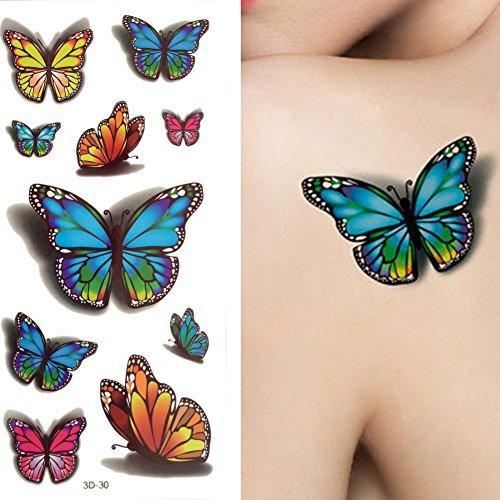 CHIC-CHIC 10PC 3D Tatouage Temporaire Tattoo Autocollant Ephémère Punk Fleur Papillon Vintage Maquillage Corps (30)