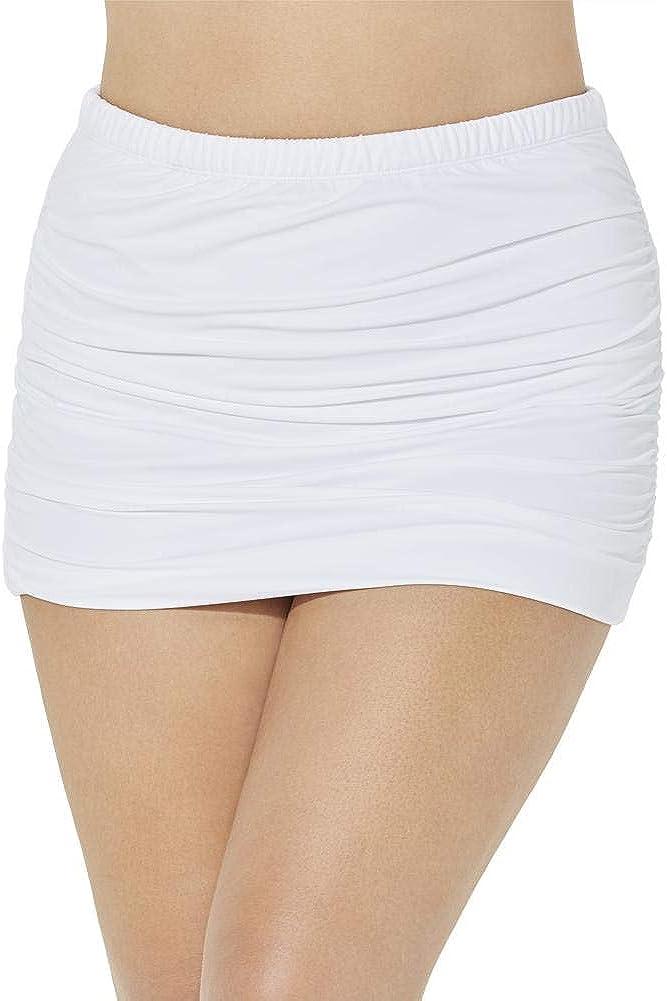 Swimsuits For All Women's Plus Size Shirred High Waist Swim Skirt