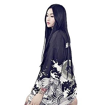 ZooBoo Women Japanese Kimono Cardigan - Harajuku Bathrobe Cardigan Sunscreen Clothes Pajamas Knitting Coat (Black)