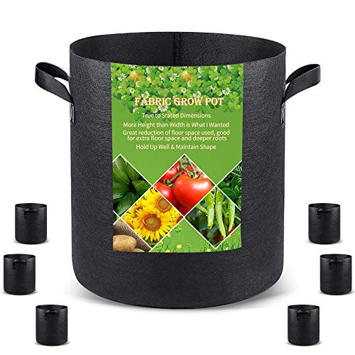 Grow Bags Tall, 10 Gallon 6 Pack Fabric Smart Grow Pots with Handles, Heavy Duty Thickened Nonwoven Aeration Fabric 320G Black Plant Bag for Vegetables and Trees