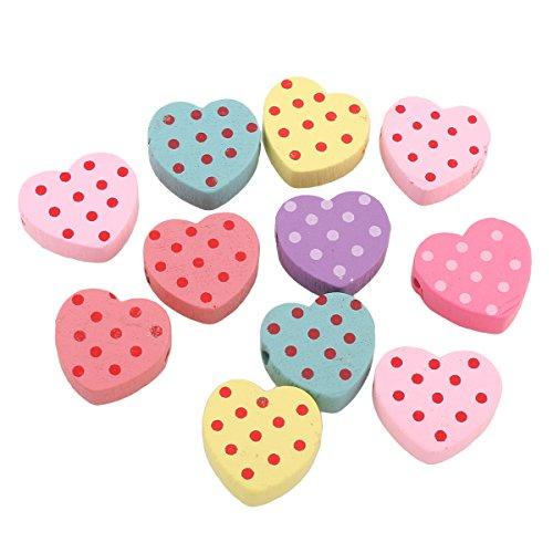 Parlin - 20stk houten parels 22mm kinderparels hart met punk motief fopspeen ketting speekselvast knutselen houten parels met gat om te rijgen kleurrijke mix mix kleuren H144 x2