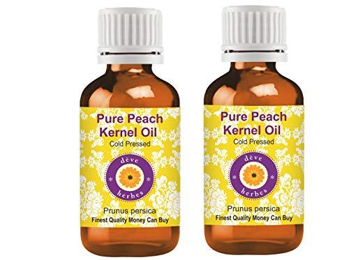 Deve Herbes Aceite de almendra de melocotón puro (Prunus persica) 100% natural de grado terapéutico prensado en frío para cuidado personal (paquete de dos) 100 ml x 2 (7 oz)
