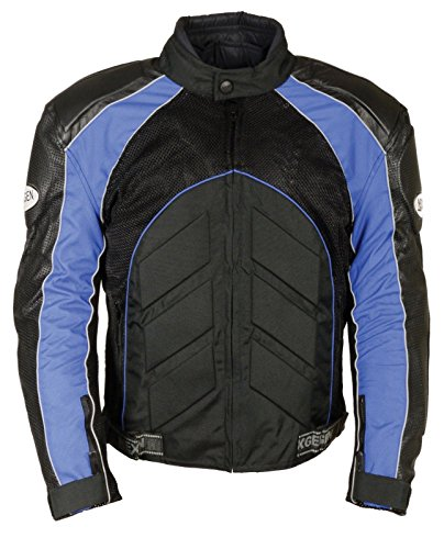 Shaf Men's Motorcycle Perforated Leather & MESH Racer Jacket W/Armour Protection RED (M Blue)