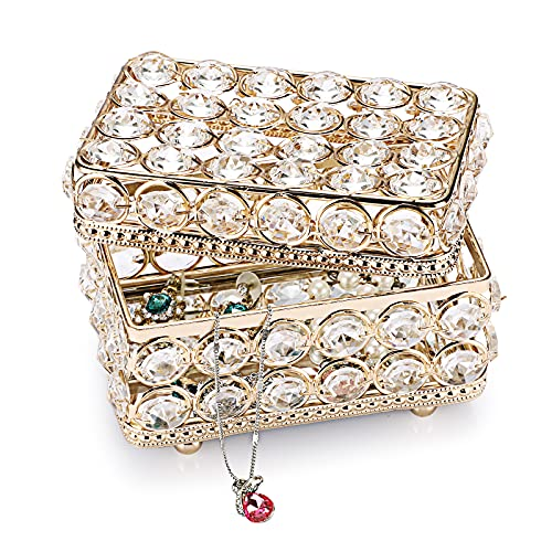 SUMTree Joyero rectangular con tapa de cristal y metal para joyas, joyero, decoración para el hogar, dormitorio, baño, regalo dorado para mujer y novia
