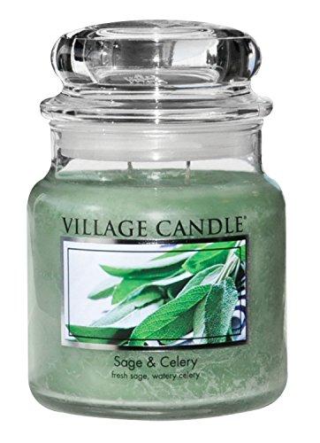 Village Candle Salbei und Sellerie Duftkerze im Glas, 454 g, grün, 9.8 x 9.5 cm