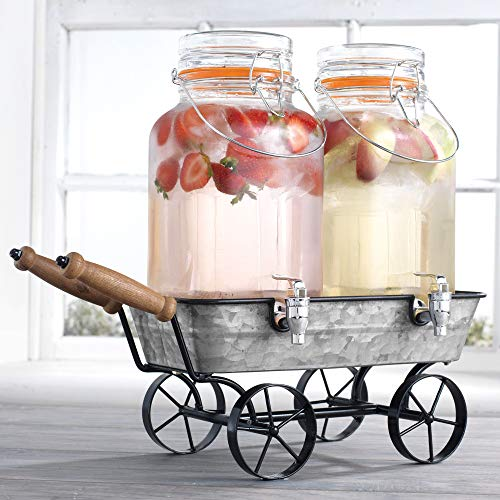 Two (2) 1 Gallon Each Quality Ice Cold Clear Glass Jug Beverage Drink Dispensers With Metal Wagon Display Caddy Stand Airtight Hermetic Seal- For Outdoors, Parties & Daily Use