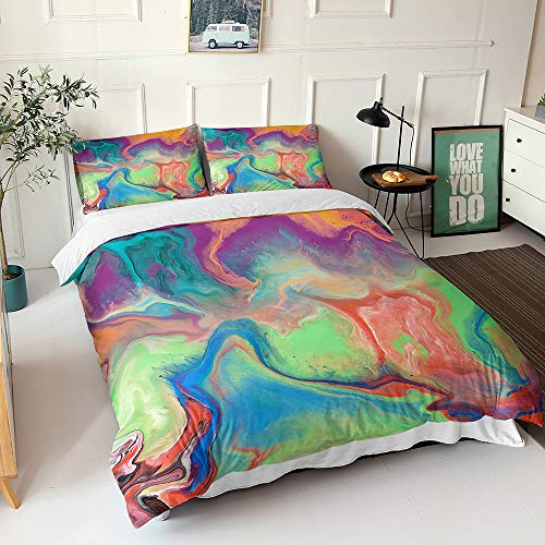 Duvet Cover Set for Single Double Super King Size Bed, Morbuy Colorful Tie Dye 3D Microfiber Fade Resistant Bedding Set with Pillowcases and Quilt case (Green,200x200cm)