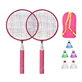 BESPORTBLE Badminton Set for Kids with Rackets Junior Tennis Racquet Play Game Beach Toys (Pink)