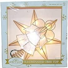 Kurt Adler Kurt S. Adler 10-Light Capiz Star Angel with Trumpet Treetop, Gold, White