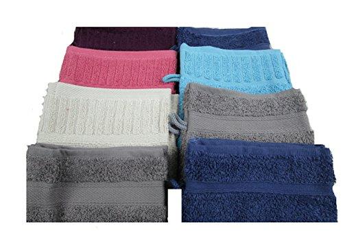 Vandenhove Linge De Maison Lot de Gants de Toilette 100% Coton Fabrication Belge Haut de Gamme Couleurs et Designs Assorties (Lot de 10)
