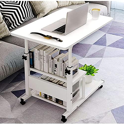 Qks Escritorio para computadora portátil con Ruedas Ajustable, Escritorio para computadora portátil, sofá, Mesa Auxiliar con Ruedas, Adecuado para Sala de Estar, Sala de niños