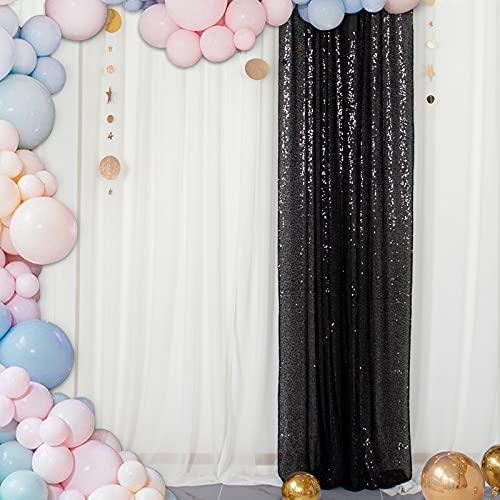 ShinyBeauty Telón de Fondo Telón de Fondo de Lentejuelas Telones de Fondo para fotografía Telón de Fondo para decoración de Fiesta de Bodas de cumpleaños (2FTx7FT, Negro)