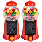 ArtCreativity Gumball Machine for Kids, Set of 2, 6.5 Inch Desktop Bubble Gum Mini Candy Dispenser, Unique Money Saving Coin Bank, Best Gift or Vintage Office Desk Decoration (Gumballs not Included)