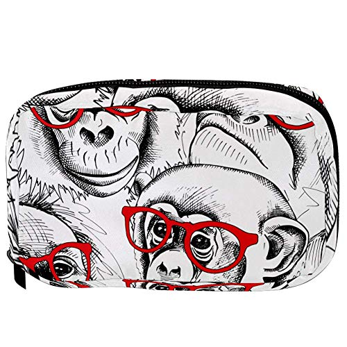 TIZORAX Cosmetic Bags Gorilla With Red Glass Handy Toiletry Travel Bag Organizer Makeup Pouch for Women Girls