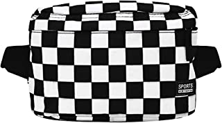 Van Caro Unisex Canvas Crossbody Purse Chest Pack Sport Travel Shopping Backpacks, Checkered