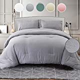 Seersucker King Comforter Set 3PC, All Season Reversible Down Alternative Quilted Duvet Insert, Hypoallergenic Microfiber Filling, Luxury Hotel Quality Bedding Sets in a Bag, Size 104 inch, Gray Grey