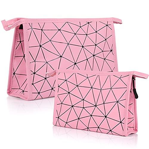 Cosmetici Borsa da Viaggio, Comius Sharp 2 Pezzi Borsa da Toilette Donna Makeup Bag Set, PU Impermeabile Beauty Case Travel Organizer Borse per Trucco (Rosa)