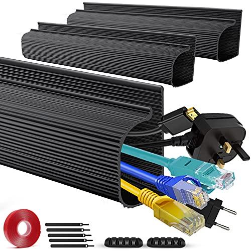 Kit di canalina per cavi a J, colore nero, per la gestione dei cavi sotto scrivania, 119,4 cm (7,6 cm x 39,9 cm) con supporti per cavi, canalina per cavi per parete, scrivania, casa, ufficio (3Pack)