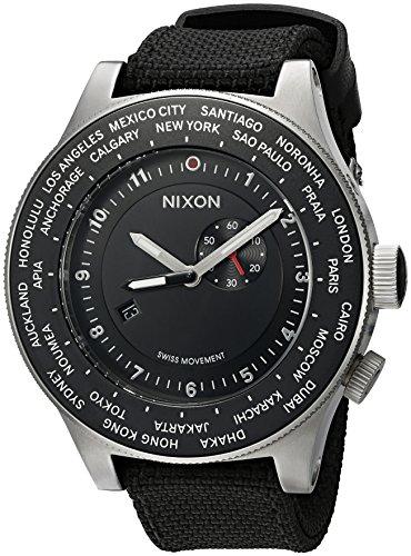 Nixon Men's 'Passport' Swiss Quartz Stainless Steel and Nylon Casual Watch, Color:Black (Model: A321-000-00)