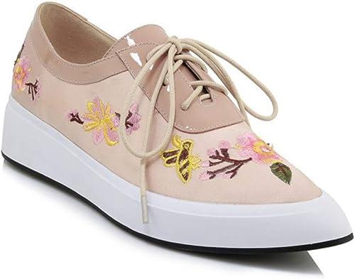 YAN zapatos de la Manera de Las mujeres de la Cubierta zapatos de Cuero de la Moda de Inglaterra zapatos de Raso de Flor Puntiagudos Cordones zapatos de Charol,B,38